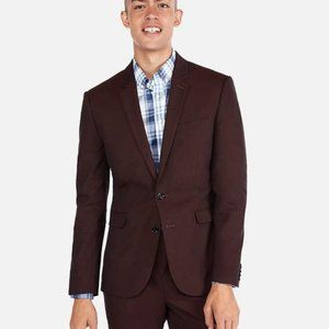 Extra Slim Burgundy Red Cotton Blend Stretch Suit